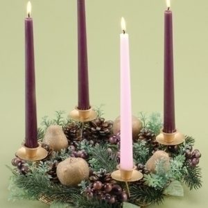 """14""""BERRY/PEAR ADVENT WREATH. CANDLES ARE INCLUDED"""