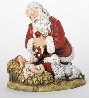 "13"" KNEELING SANTA W/LAMB FIG"