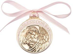 Baby w/Angel Crib Medal with Pink Ribbon. God Bless Our Baby in Pink Epoxy