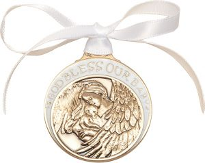 Baby w/Angel Crib Medal with White Ribbon. God Bless Our Baby in White Epoxy