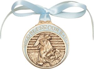 Baby in Manger Crib Medal with Blue Ribbon. God Bless Our Baby in Blue Epoxy