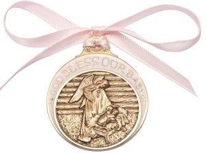 Baby in Manger Crib Medal with Pink Ribbon. God Bless Our Baby in Pink Epoxy