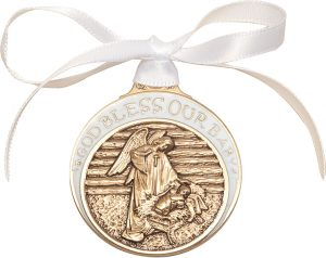 Baby in Manger Crib Medal with White Ribbon. God Bless Our Baby in White Epoxy