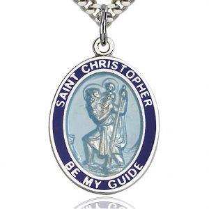 St. Christopher Blue Border Pendan