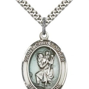 St. Christopher Blue Epoxy Pendant