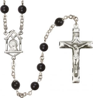 6mm Black Onyx Capped Our Father  Rosary