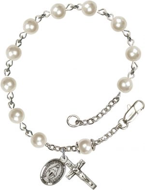 6mm Faux Pearl  Rosary Bracelet
