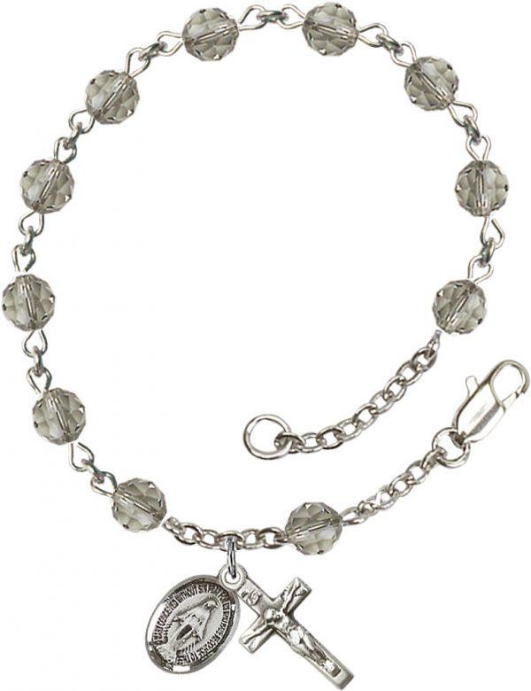 6mm Black Diamond Swarovski  Rosary Bracelet