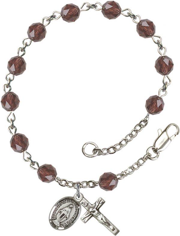 6mm Burgandy Swarovski  Rosary Bracelet