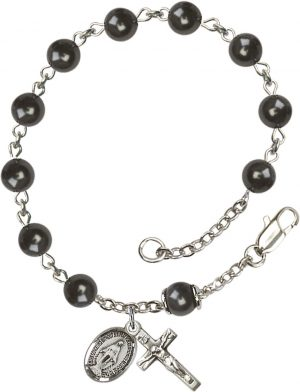 6mm Black Pearl Over Swarovski  Rosary Bracelet