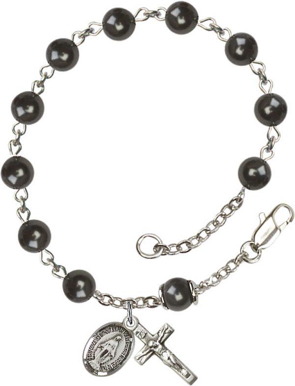 6mm Black Pearl Over Swarovski  Rosary Bracelet