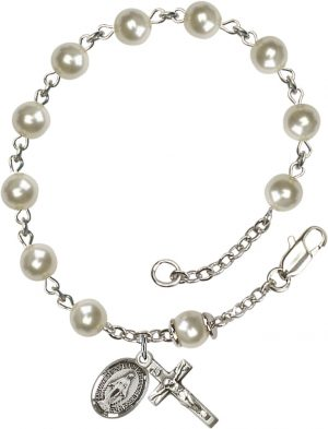 6mm Cream Rose Pearl Over Swarovski  Rosary Brace