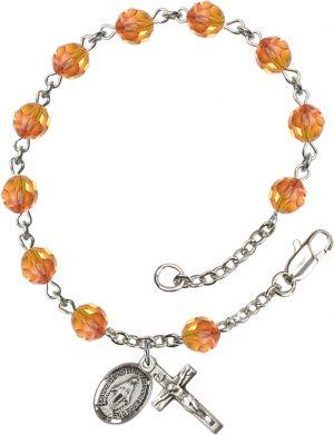 6mm Fire Opal Swarovski  Rosary Bracelet