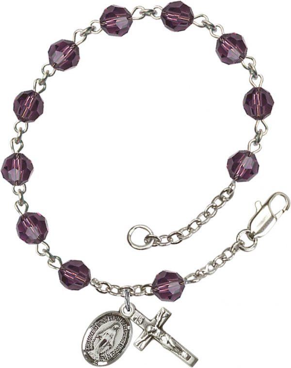6mm Amethyst Swarovski  Rosary Bracelet