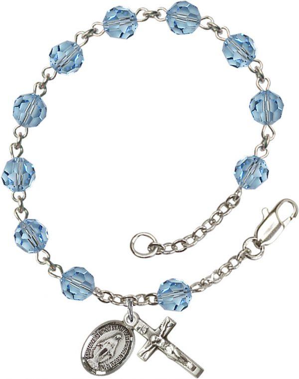 6mm Aqua Swarovski  Rosary Bracelet