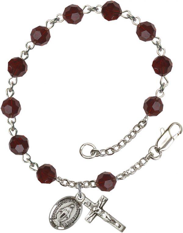 6mm Garnet Swarovski  Rosary Bracelet