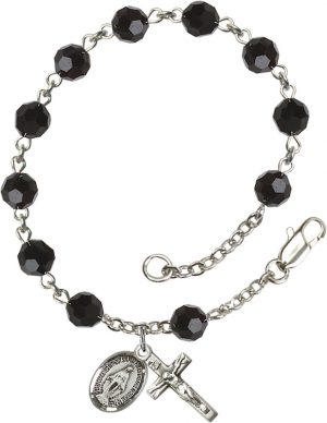 6mm Jet Swarovski  Rosary Bracelet