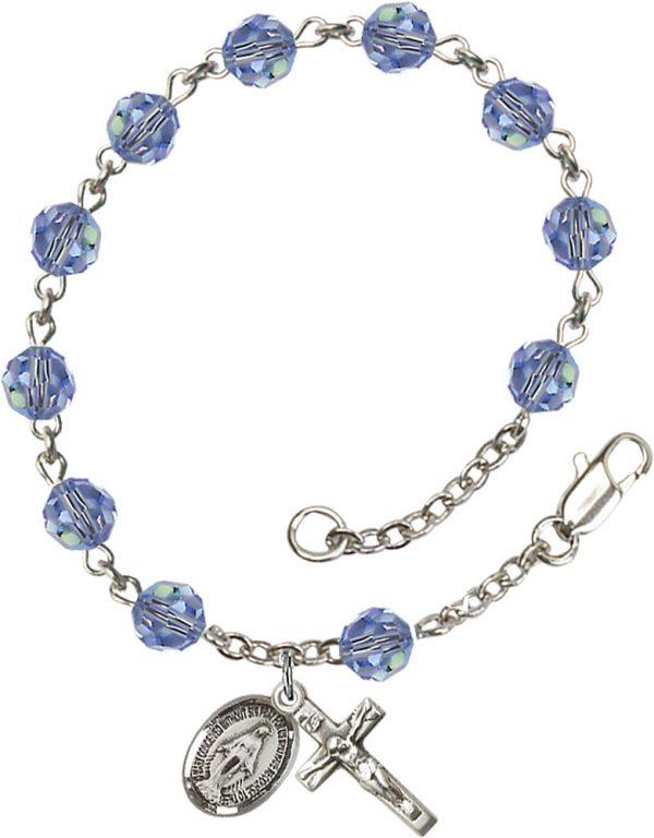 6mm Light Sapphire Swarovski  Rosary Bracelet