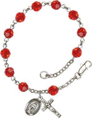 6mm Ruby Swarovski  Rosary Bracelet