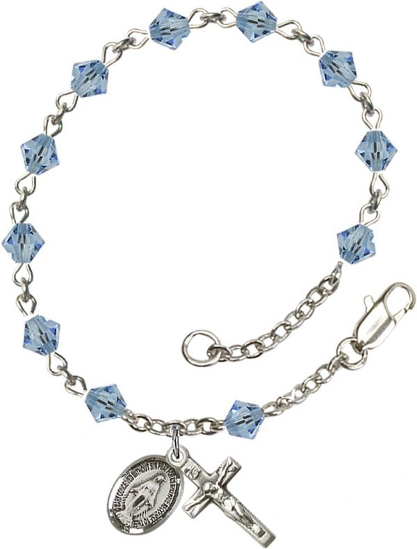 5mm Aqua Swarovski Rundell-Shaped  Rosary Bracele