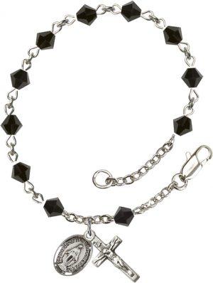 5mm Jet Swarovski Rundell-Shaped  Rosary Bracelet