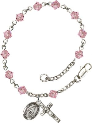 5mm Light Rose Swarovski Rundell-Shaped  Rosary B