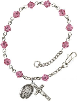 5mm Rose Swarovski Rundell-Shaped  Rosary Bracele