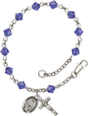 5mm Sapphire Swarovski Rundell-Shaped  Rosary Bra