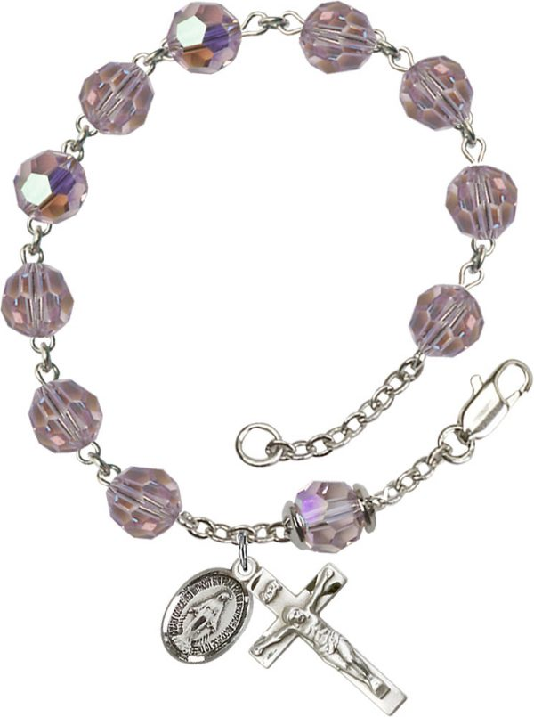 8mm Light Amethyst Swarovski, Capped Our Father A