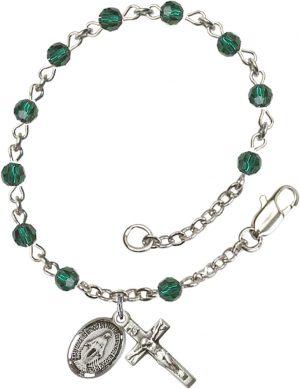 4mm Emerald Swarovski  Rosary Bracelet