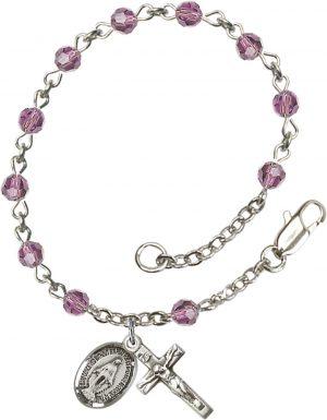 4mm Light Amethyst Swarovski  Rosary Bracelet