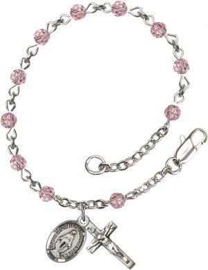 4mm Light Rose Swarovski  Rosary Bracelet