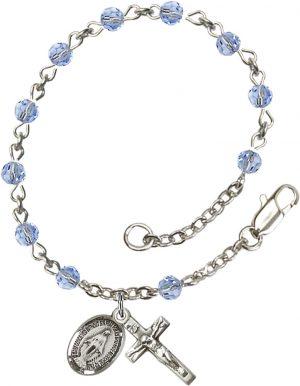 4mm Light Sapphire Swarovski  Rosary Bracelet