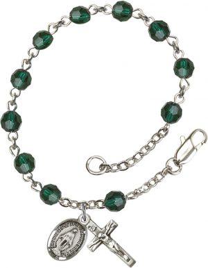 5mm Emerald Swarovski  Rosary Bracelet