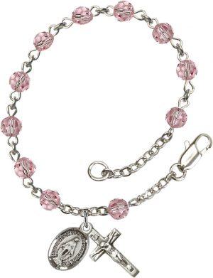 5mm Light Rose Swarovski  Rosary Bracelet