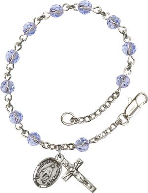 5mm Light Sapphire Swarovski  Rosary Bracelet