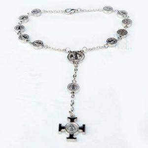 Auto Rosary - St. Benedict metal beads
