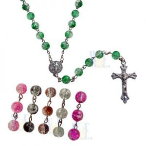 Rosary - round crackel bead